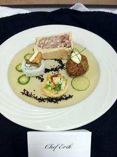Click image for larger version  Name:Show Plate, Duck Pate En Croute, Crab Cake, Veg. Sushi, Scallop Ceviche..jpg Views:348 Size:26.9 KB ID:10638