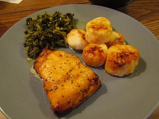 Click image for larger version  Name:Salmon Filet, Broiled scallops, Chopped Collards.jpg Views:103 Size:53.7 KB ID:34655