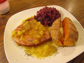 Click image for larger version  Name:Ham Steak, Pineapple Sauce, Sweet Tater, Red Cabbage.jpg Views:38 Size:61.7 KB ID:37065