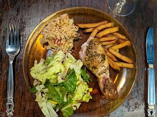 Click image for larger version  Name:Roasted, herb marinated chicken leg, salad, duck fat fried French fries, pilaf.jpg Views:7 Size:156.8 KB ID:47080