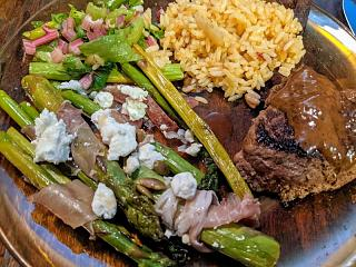 Click image for larger version  Name:Asparagus with prosciutto, lonzo, chèvre, pumpkin seeds, honey, and EVOO and a leafy salad with .jpg Views:12 Size:157.2 KB ID:47385