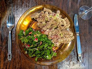 Click image for larger version  Name:Pasta Carbanaroid and a leafy salad with homemade vinaigrette 2.jpg Views:19 Size:177.1 KB ID:47454