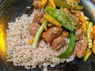 Click image for larger version  Name:Pork and mixed vegis stir fry with brown basmati rice.jpg Views:17 Size:173.3 KB ID:48592