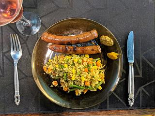 Click image for larger version  Name:Grilled merguez sausages and mixed vegis and rice with green masala, Stirling's plate.jpg Views:14 Size:168.9 KB ID:48797